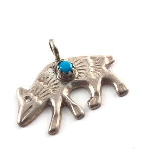 HP Silver Turquoise Wolf Coyote Fox Charm Pendant
